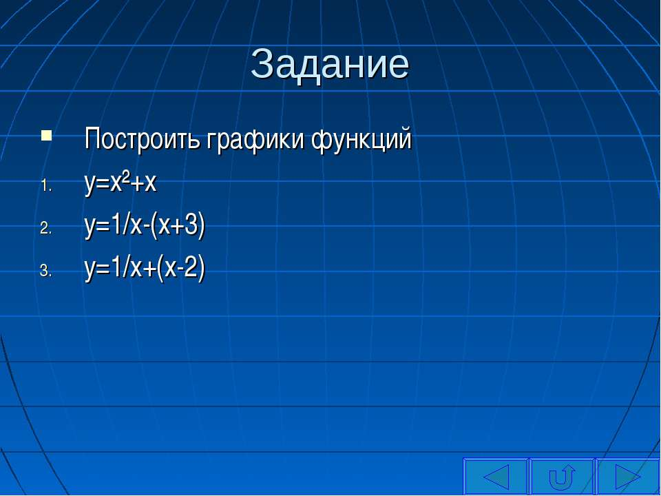 Задание Построить графики функций y=x²+x y=1/x-(x+3) y=1/x+(x-2)