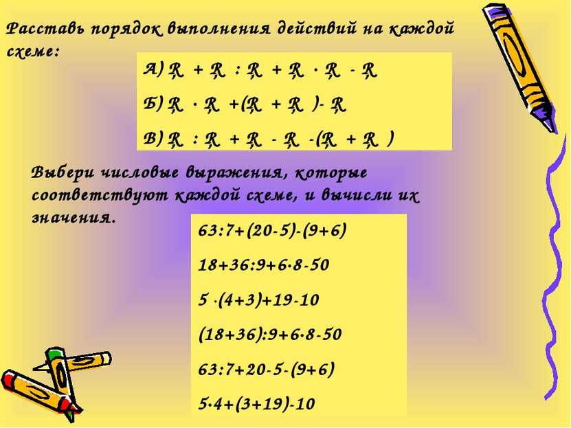Выбери числовые выражения, которые соответствуют каждой схеме, и вычисли их з...