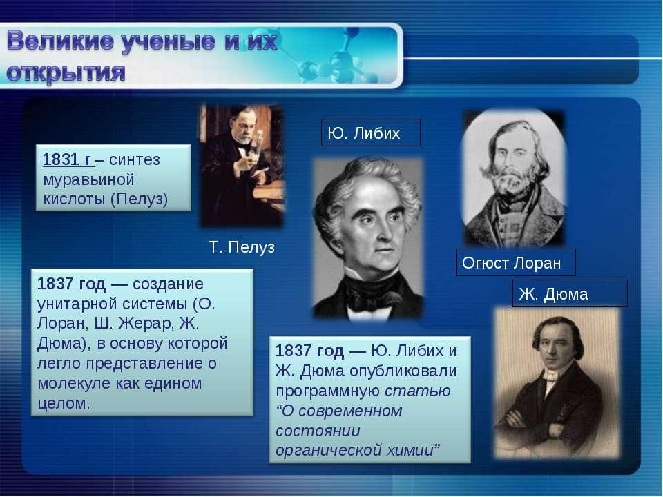 Т. Пелуз Ю. Либих Огюст Лоран Ж. Дюма