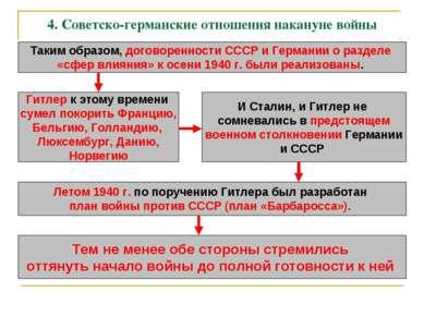 4. Советско-германские отношения накануне войны Таким образом, договоренности...