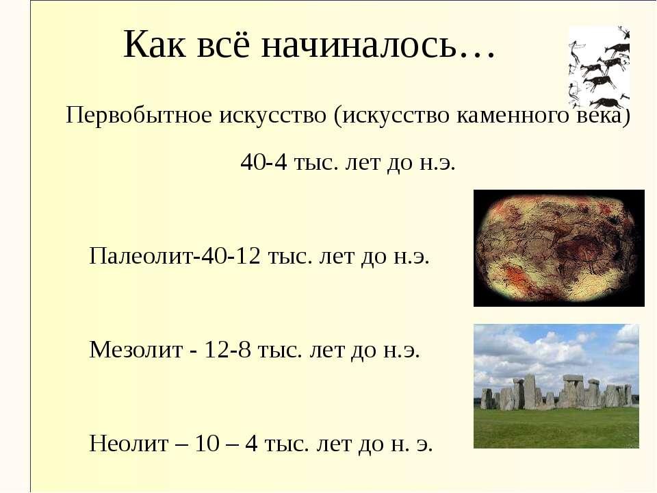 Как всё начиналось… Первобытное искусство (искусство каменного века) 40-4 тыс...