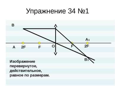 Упражнение 34 №1 O 2F F F A B A1 B1 Изображение перевернутое, действительное,...