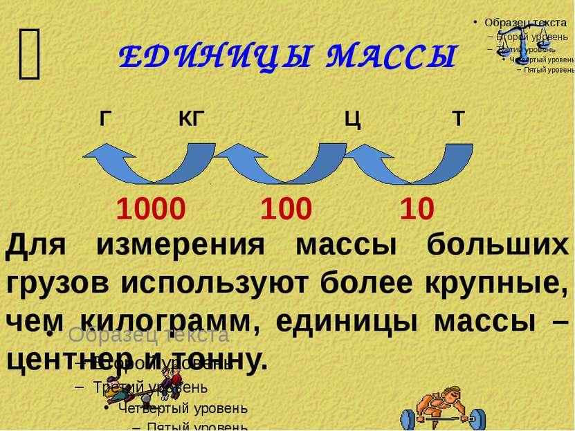 ЕДИНИЦЫ МАССЫ Г КГ Ц Т 100 10 Для измерения массы больших грузов используют б...