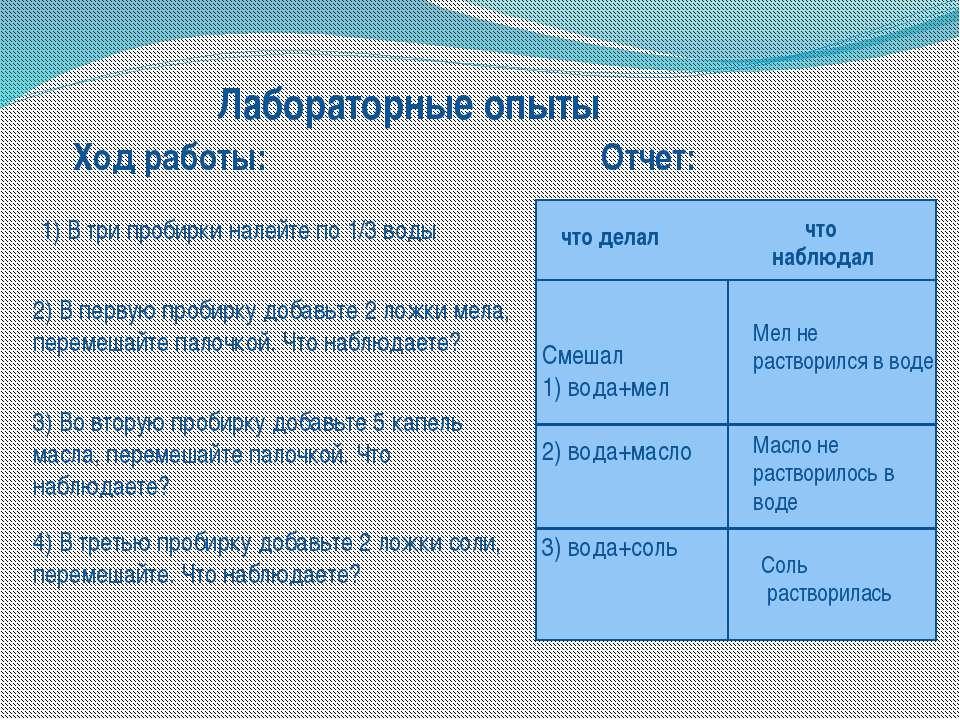 Ход работы: Лабораторные опыты 1) В три пробирки налейте по 1/3 воды 2) В пер...