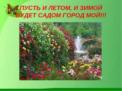 ПУСТЬ И ЛЕТОМ, И ЗИМОЙ БУДЕТ САДОМ ГОРОД МОЙ!!!