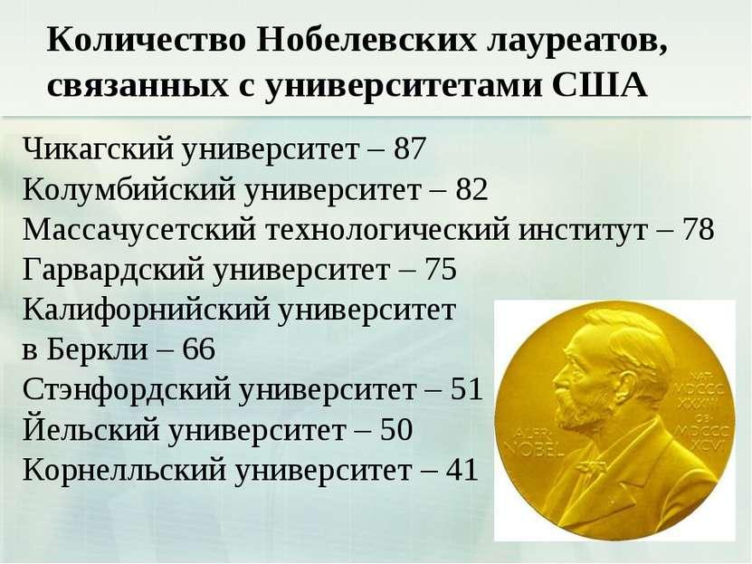 Количество Нобелевских лауреатов, связанных с университетами США Чикагский ун...