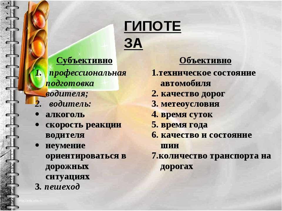 ГИПОТЕЗА Субъективно Объективно 1. профессиональная подготовка водителя; 2. в...