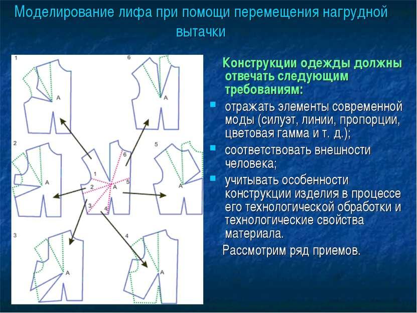 Моделирование лифа при помощи перемещения нагрудной вытачки Конструкции одежд...