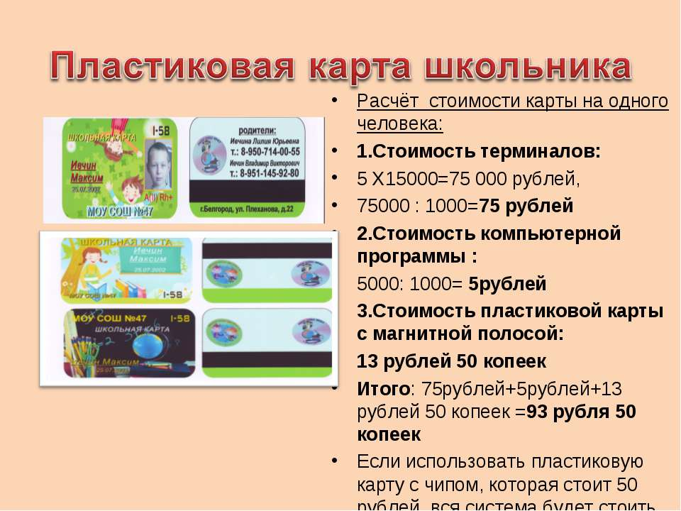 Расчёт стоимости карты на одного человека: 1.Стоимость терминалов: 5 Х15000=7...