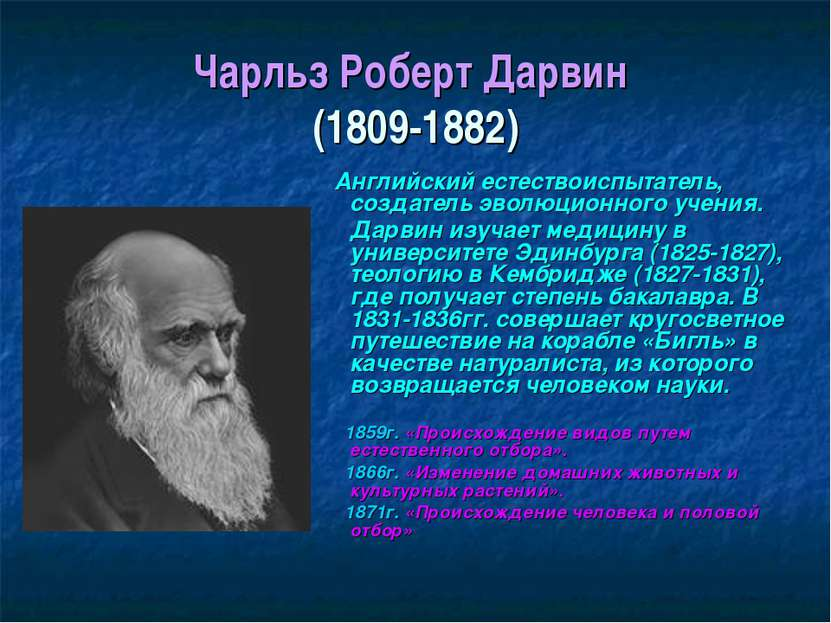 Чарльз Роберт Дарвин (1809-1882) Английский естествоиспытатель, создатель эво...