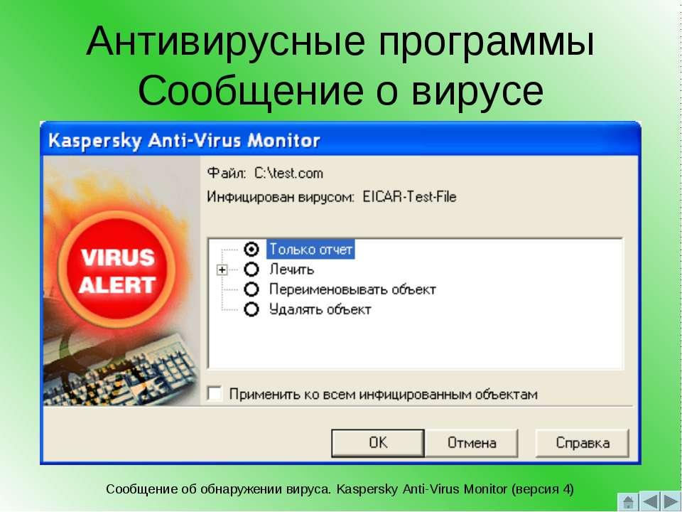 Антивирусные программы Сообщение о вирусе