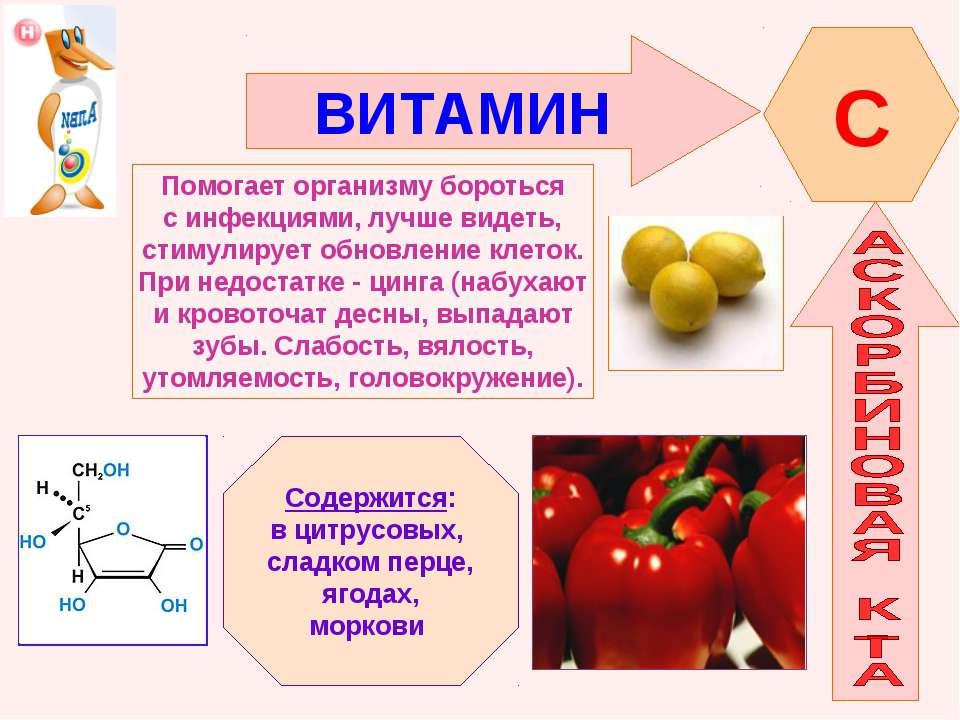 ВИТАМИН C Помогает организму бороться с инфекциями, лучше видеть, стимулирует...