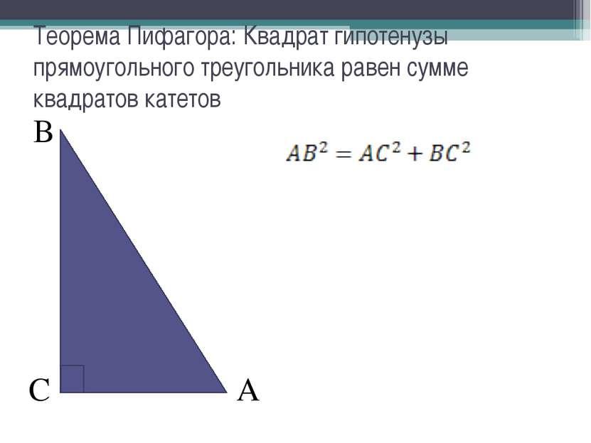 В А С Теорема Пифагора: Квадрат гипотенузы прямоугольного треугольника равен ...
