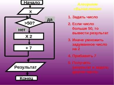 Алгоритм «Вычисление» Задать число Если число больше 50, то вывести результат...