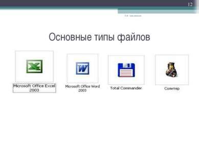 Основные типы файлов Е.В. Заводчикова * Е.В. Заводчикова