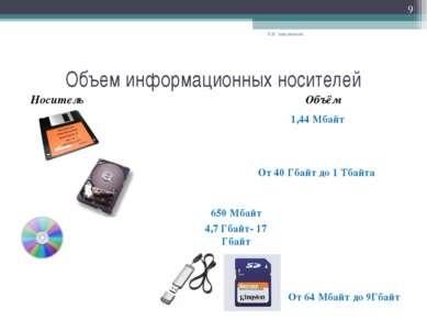 Объем информационных носителей Носитель Е.В. Заводчикова * Объём 1,44 Мбайт О...