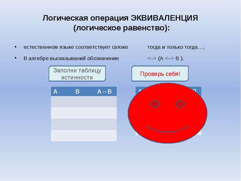 Логическая операция ЭКВИВАЛЕНЦИЯ (логическое равенство): естественном языке с...