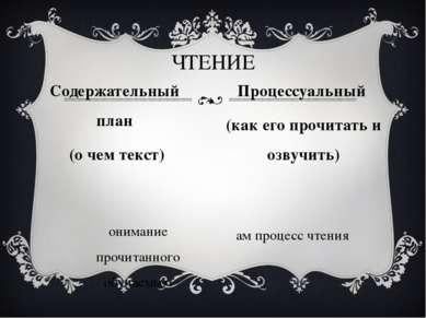 понимание прочитанного обучаемым сам процесс чтения ЧТЕНИЕ Содержательный пла...