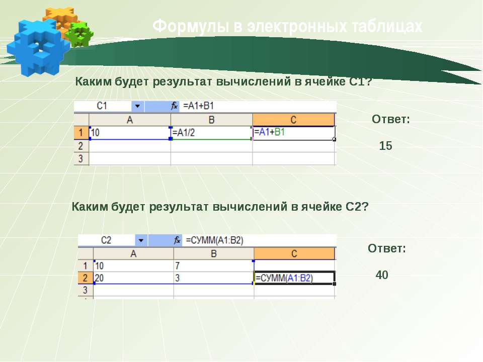 Формулы в электронных таблицах Каким будет результат вычислений в ячейке С1? ...