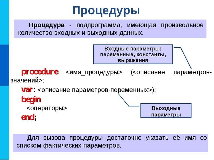 Процедуры Процедура - подпрограмма, имеющая произвольное количество входных и...
