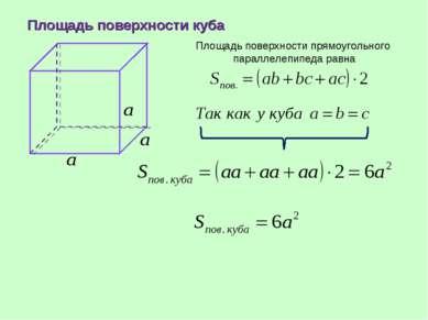Площадь поверхности куба Площадь поверхности прямоугольного параллелепипеда р...