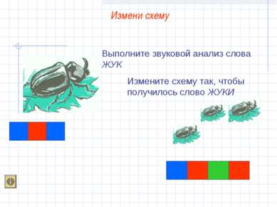 Выполните звуковой анализ слова ЖУК Измените схему так, чтобы получилось слов...