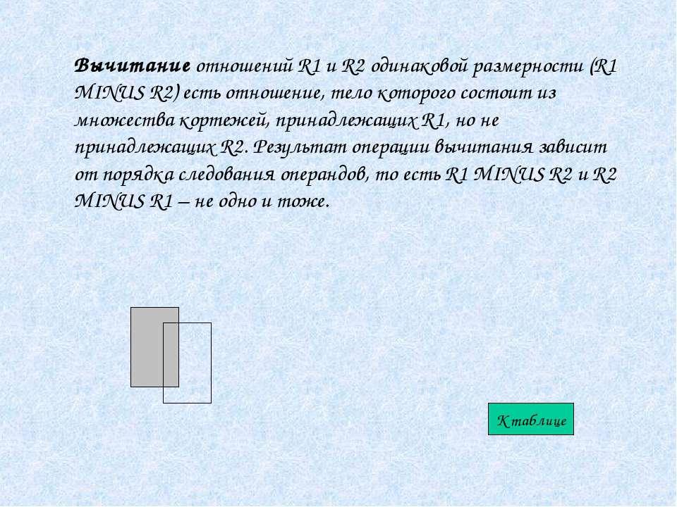 Вычитание отношений R1 и R2 одинаковой размерности (R1 MINUS R2) есть отношен...