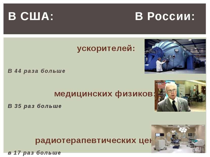 В США: В России: ускорителей: В 44 раза больше медицинских физиков: В 35 раз ...