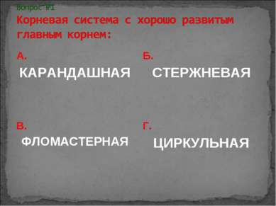А. КАРАНДАШНАЯ Б. СТЕРЖНЕВАЯ В. ФЛОМАСТЕРНАЯ Г. ЦИРКУЛЬНАЯ
