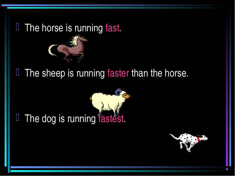 The horse is running fast. The sheep is running faster than the horse. The do...