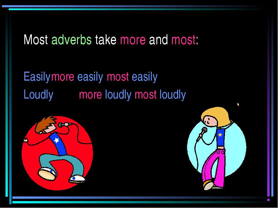 Most adverbs take more and most: Easily more easily most easily Loudly more l...