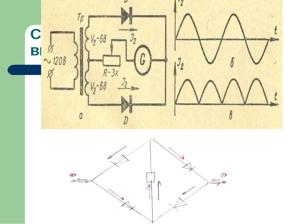 Схема двухполупериодного выпрямления