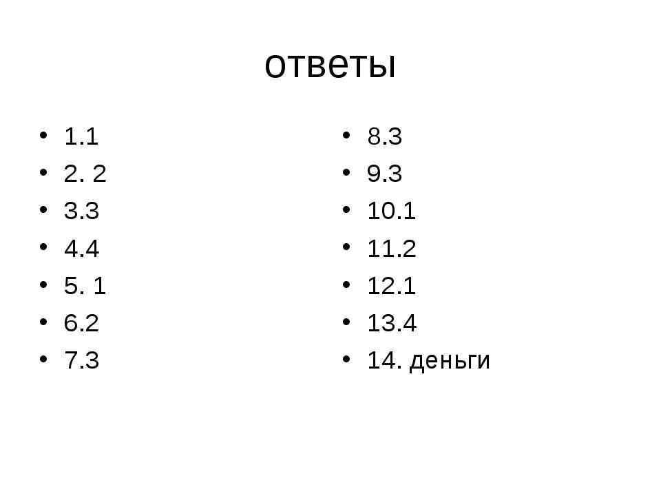 ответы 1.1 2. 2 3.3 4.4 5. 1 6.2 7.3 8.3 9.3 10.1 11.2 12.1 13.4 14. деньги