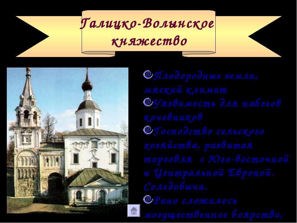Галицко-Волынское княжество Плодородные земли, мягкий климат Уязвимость для н...