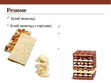 Резюме Білий шоколад; Білий шоколад з горіхами; Молдочний шоколад; Молочний ш...