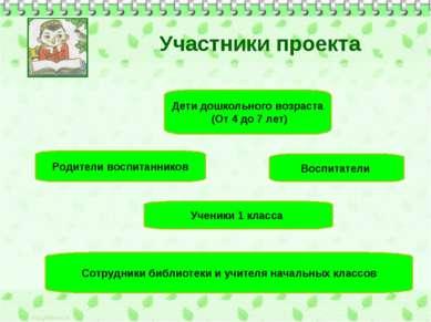 Участники проекта Дети дошкольного возраста (От 4 до 7 лет) Родители воспитан...