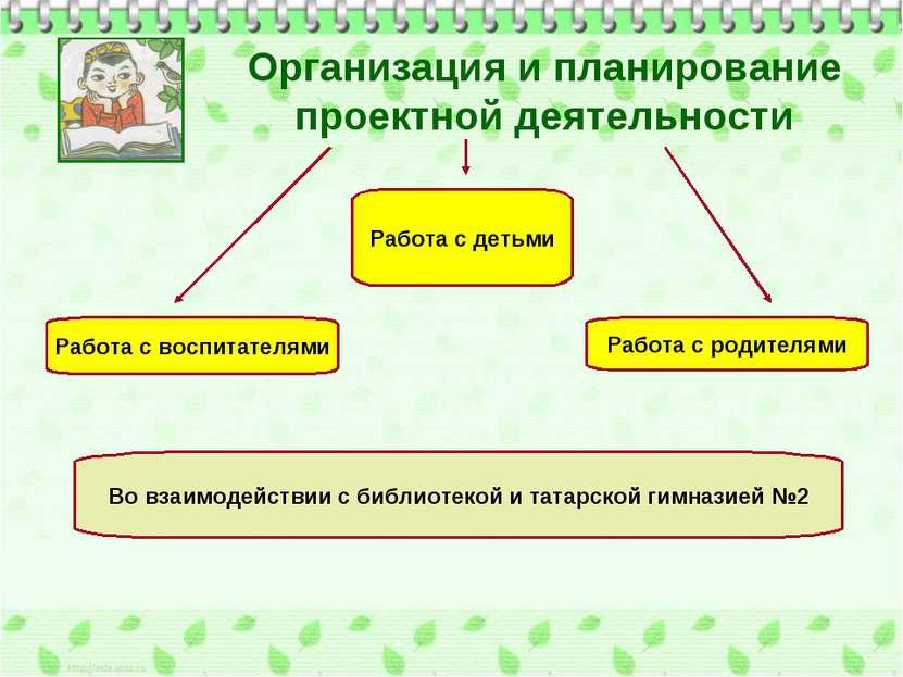 Организация и планирование проектной деятельности Работа с детьми Работа с во...
