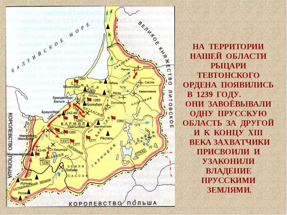 НА ТЕРРИТОРИИ НАШЕЙ ОБЛАСТИ РЫЦАРИ ТЕВТОНСКОГО ОРДЕНА ПОЯВИЛИСЬ В 1239 ГОДУ. ...