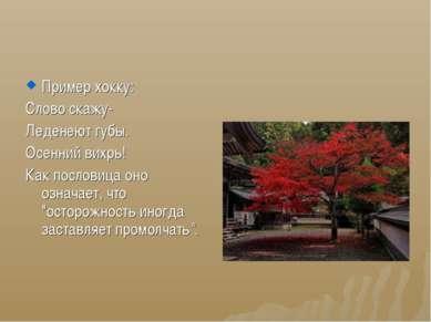Пример хокку: Слово скажу- Леденеют губы. Осенний вихрь! Как пословица оно оз...