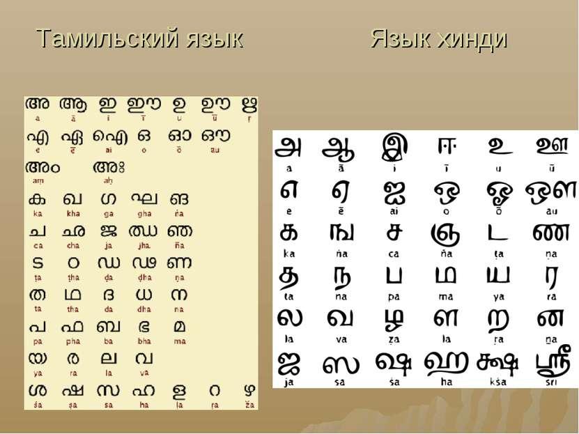 Тамильский язык Язык хинди