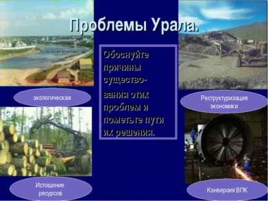 Проблемы Урала. экологическая Истощение ресурсов Конверсия ВПК Реструктуризац...