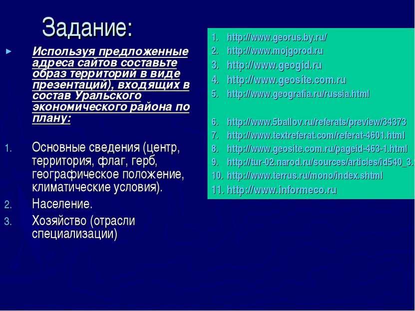 Задание: Используя предложенные адреса сайтов составьте образ территорий в ви...