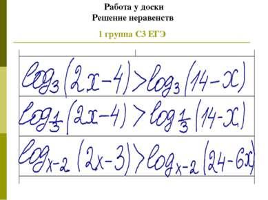 Работа у доски Решение неравенств 1 группа С3 ЕГЭ