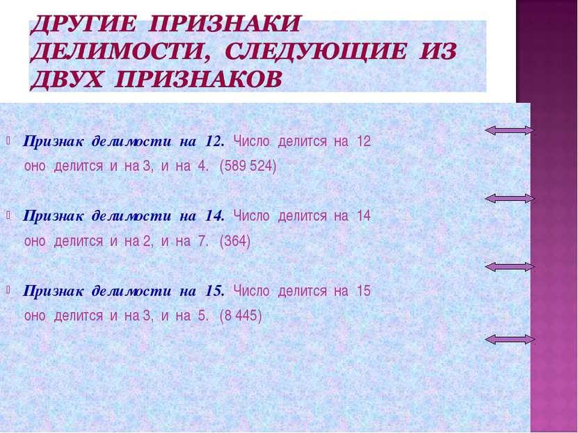 Признак делимости на 12. Число делится на 12 оно делится и на 3, и на 4. (589...