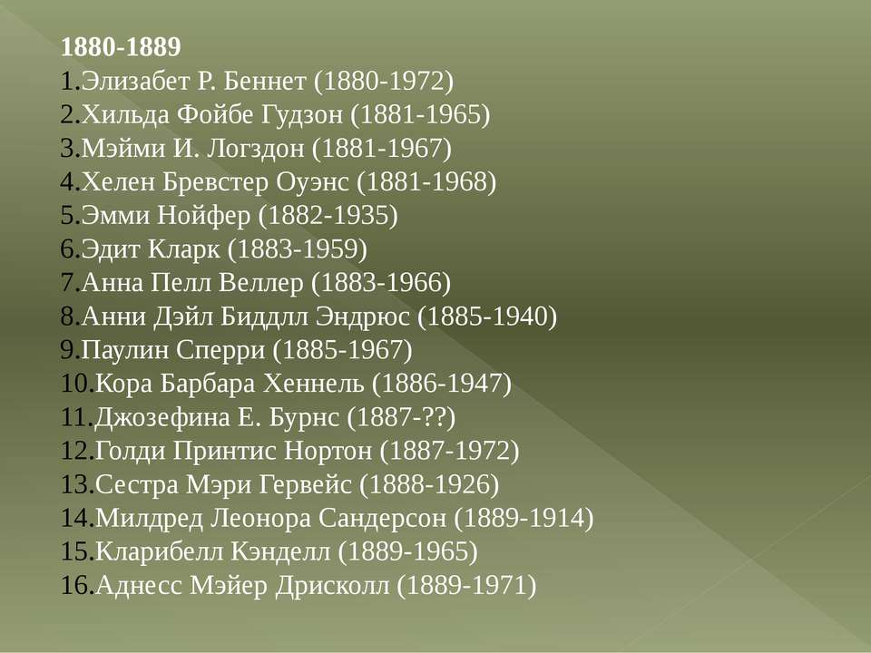1880-1889 Элизабет Р. Беннет (1880-1972) Хильда Фойбе Гудзон (1881-1965) Мэйм...