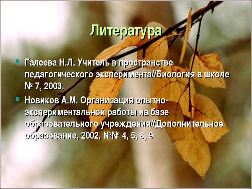 Литература Галеева Н.Л. Учитель в пространстве педагогического эксперимента//...