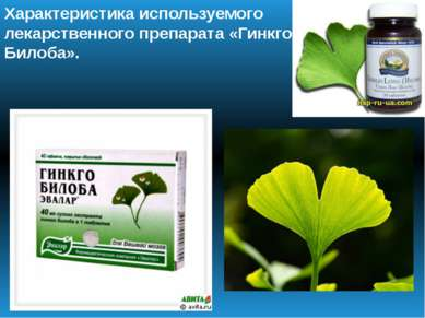 Характеристика используемого лекарственного препарата «Гинкго Билоба».