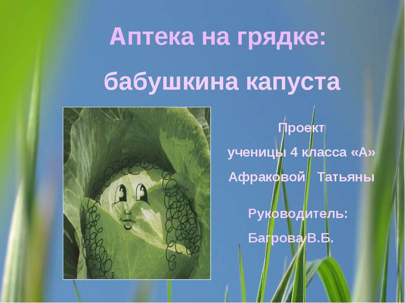 Аптека на грядке: бабушкина капуста Проект ученицы 4 класса «А» Афраковой Тат...