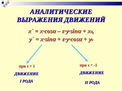 АНАЛИТИЧЕСКИЕ ВЫРАЖЕНИЯ ДВИЖЕНИЙ x` = x∙cosα – ε∙y∙sinα + x0, y` = x∙sinα + ε...