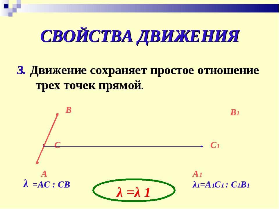 СВОЙСТВА ДВИЖЕНИЯ 3. Движение сохраняет простое отношение трех точек прямой. ...